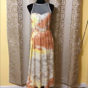 Kensie water color maxi dress with mesh top